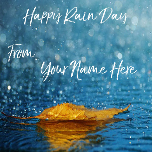Specially Name Wishes Happy Rain Day Beautiful Image