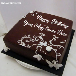 Write Name Design Chocolate Birthday Cake Wishes Image