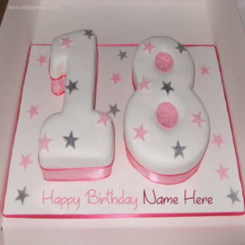 Write Name On Birthday Cake By 18th Age Wishes Pictures