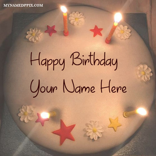 Write Name On Birthday Candles Decoration Cake Wishes Photo