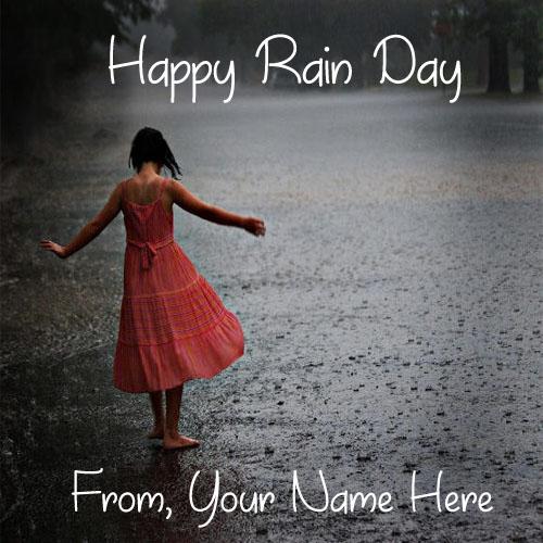 Write Name On Cute Girl Playing Happy Rain Day Image