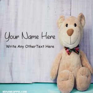 Write Name On Cute Teddy Profile Image