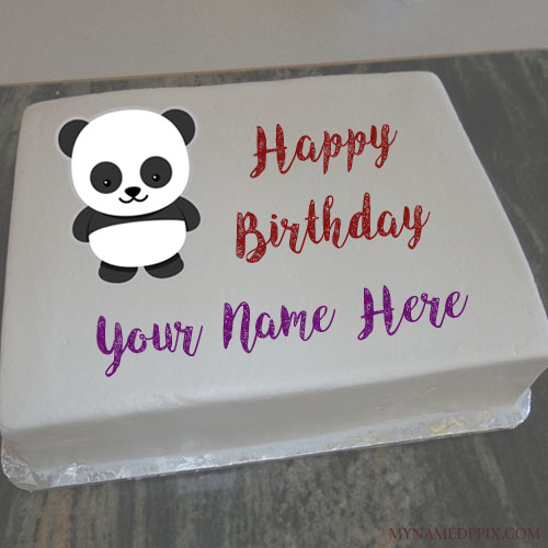 Write Name On Panda Birthday Cake For Kids Wishes