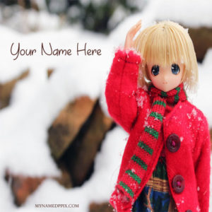 Write Name On Winter Ice Cool Doll Image