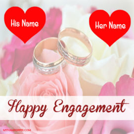 Beautiful Engagement Greeting Card With Name Image