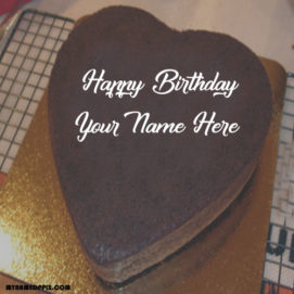 Happy Birthday Heart Look Cake With Name Wishes