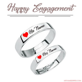 Happy Engagement Love Ring With Name Image