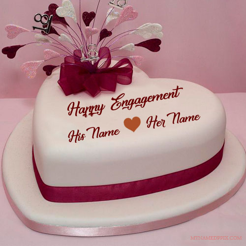 Lover Name Happy Engagement Cake Image My Name Pix Cards