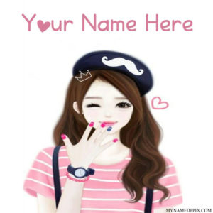 Print Name On Cutest Look Drawing Girl Image
