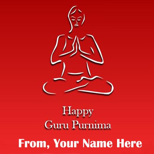 Print Name On Happy Guru Purnima Wish Card