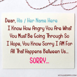 Specially Write Name Sorry Quotes Card Image