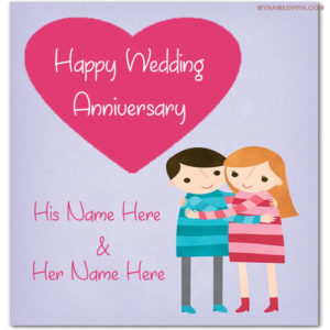 Wedding Anniversary Wish Card With Name Image
