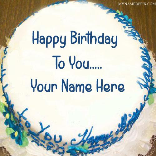 White Chocolate Birthday Cake With Name Image