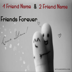 Write Boy And Girl Name Finger Friends Forever Image