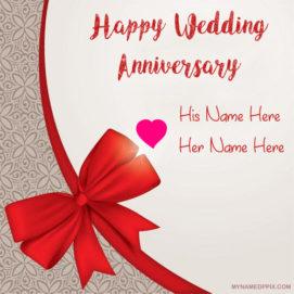 Write Couple Name Anniversary Card Image