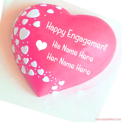 Write Couple Name Engagement Wishes Cake Image