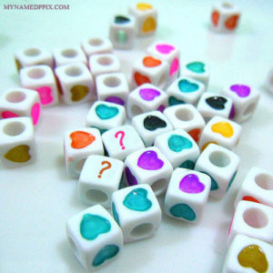 Write Couple Name First Letter On Heart Dice