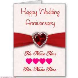 Write His And Her Name On Anniversary Wish Card