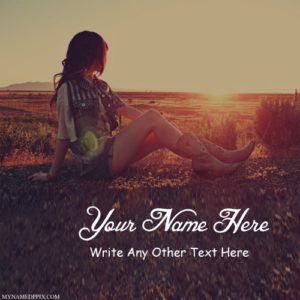 Write Name On Beautiful Alone Girl Sunset Image