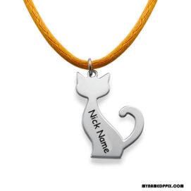 Write Name On Cat Engraved Pendant Image