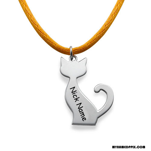 Write Name On Cat Engraved Pendant Image