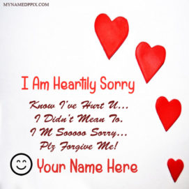 Write Name On Heartily Sorry Greeting Card Image