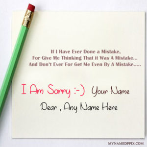 Write Name On I Am Sorry Greeting Card Image