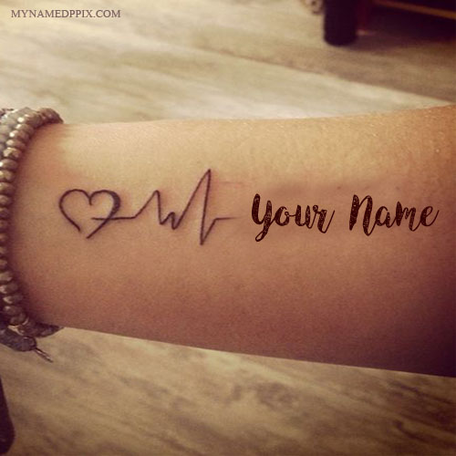 write name on love heartbeat tattoo image. Black Bedroom Furniture Sets. Home Design Ideas