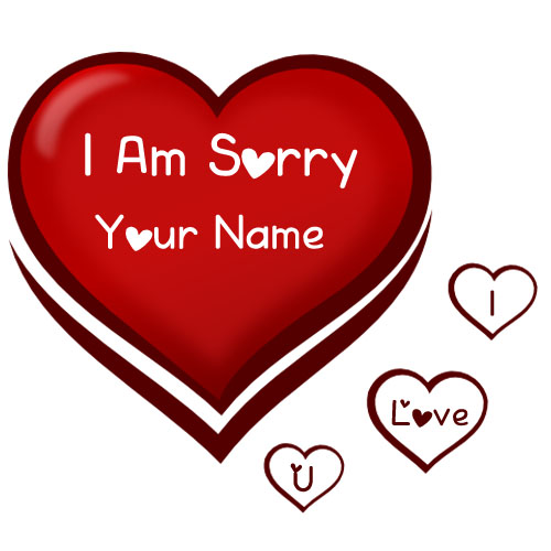 Write Name On Sorry Heart Card Image