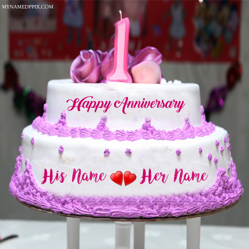 1st wedding anniversary wishes couple name cake image m4hsunfo