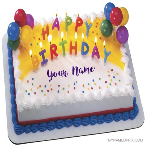 Write Name On Beautiful Candles Birthday Cakes Pictures Create My