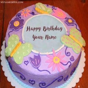 Butterfly Birthday Cake With Name Wishes Pictures Online Edit