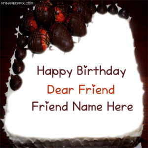 Dear Friend Name Special Birthday Sweet Cake Image