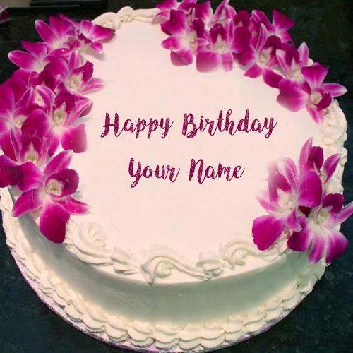 Flowers Decoration Birthday Cake Name Wishes Image