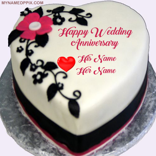 Heart Look Anniversary Wishes Cake Couple Name Printed