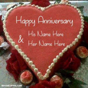 Heart Shaped Wedding Anniversary Cake With Name