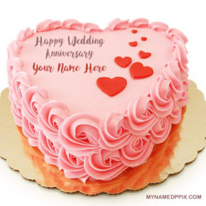 Name Wishes Happy Wedding Anniversary Cake Image