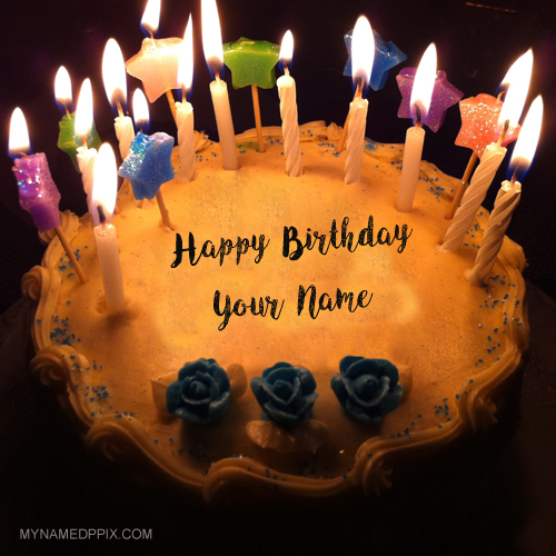 Write Name On Beautiful Candles Birthday Cakes Pictures Create