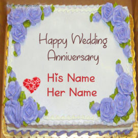 Romantic Flowers Wedding Cake With Couple Name