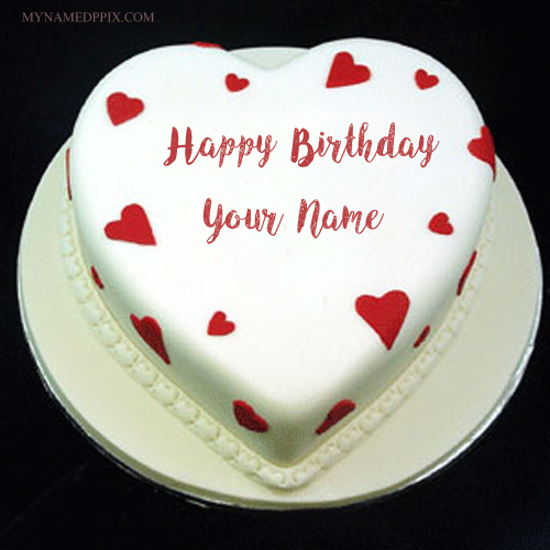 Write Girlfriend Name Beautiful Heart Shaped Birthday Cake Pics