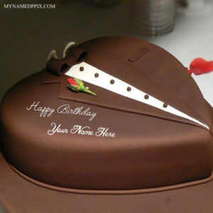 Write Husband Name Chocolate Heart Look Birthday Cake