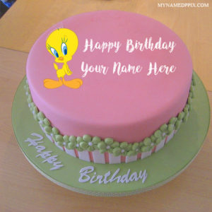 Write Kids Name Cartoon Tweety Birthday Cake Wishes