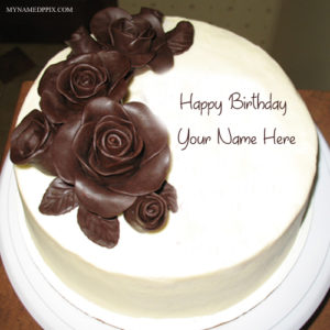 Write Name Chocolaty Flowers Birthday Cake Profile Pics