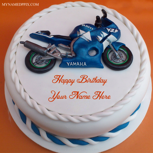 Write Name Cool Bike Birthday Cake Wishes Pictures