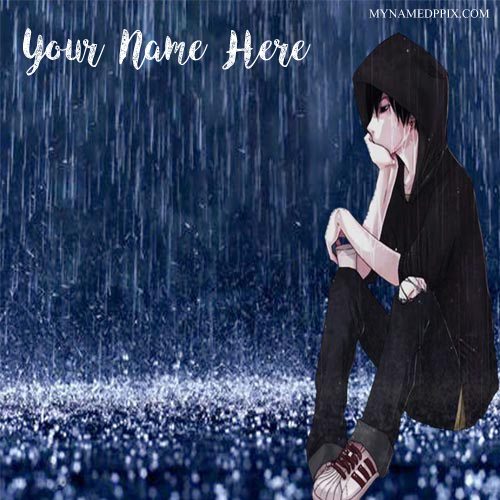 Sad Boy Alone Quotes: Write Name Sad Anime Boy Rain Image Online Profile Set