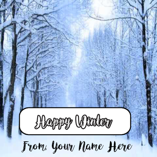 Amazing Happy Winter Wishes Name Greeting Card Image