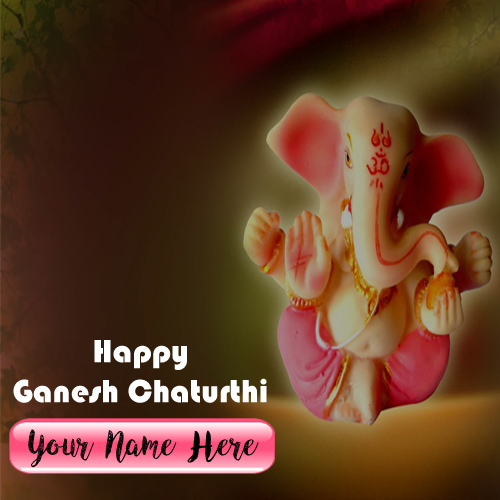 Beautiful Ganesh Chaturthi Wish Card Name Printed Online