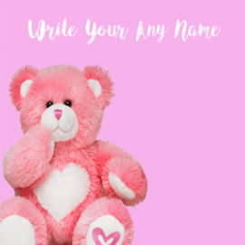 Custom Name Pink Cute Teddy Profile Image Download