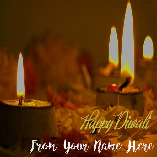 Custom Name Text Print Happy Diwali Greeting Candles Cards