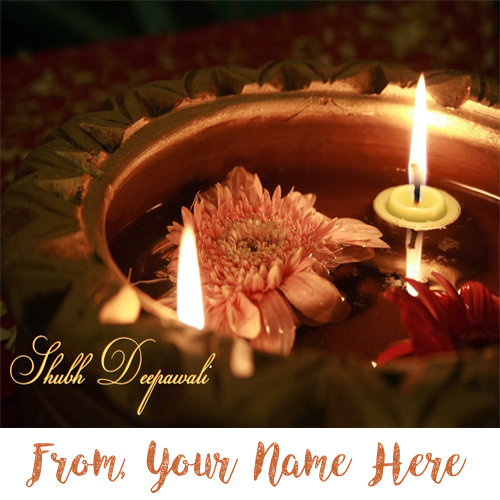 Custom Name Write Happy Diwali Candles Wish Card Pictures